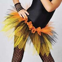 Funky Feathered Skirt, Childs sizes, Yellow/Orange/Black, (As pictured) 