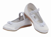 CLEARANCE, Satin Flowergirl Shoes, White