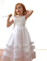 SPECIAL, Satin Ribbon Flower girl Dress, IVORY (White Pictured)