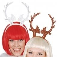 Reindeer Antler Headband With Diamantes, Colours: Brown, White