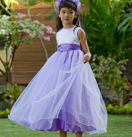 SPECIAL, Satin, Organza & Tulle Flower girl Dress, ALL WHITE, (Mauve/White Pictured)