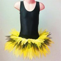 Funky Feathered Skirt, Adults sizes, Yellow/Black, (As pictured)