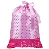 Satin Drawstring 'Ballet' Bag, Pale Pink/Hot Pink
