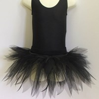 Funky Feathered Skirt, Childs sizes, Solid Black, (As pictured)