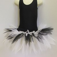 Funky Feathered Skirt, Adults sizes, White/Black, (As pictured)