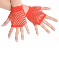Fingerless Fishnet Hand Gloves, Red