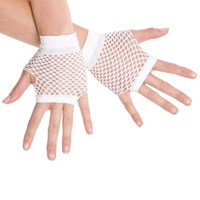 Fingerless Fishnet Hand Gloves, White