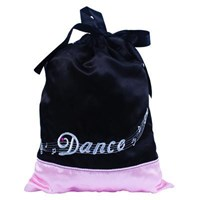 Satin Drawstring 'Dance' Bag, Black/Pale Pink