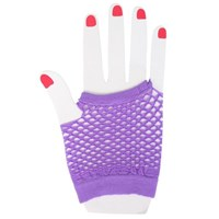 Fingerless Fishnet Hand Gloves, Purple