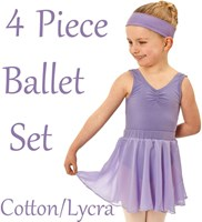 Girls 4 Piece Ballet Set, includes a Full Circle Skirt, (7 Colours) COTTON / LYCRA