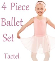 Girls 4 Piece Ballet Set, includes a Full Circle Skirt, (5 Colours) TACTEL