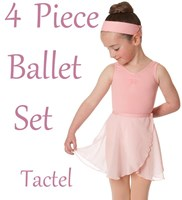 Girls 4 Piece Ballet Set, includes a Wrap Skirt, (6 Colours) TACTEL