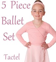 Girls 5 Piece Ballet Set, includes a Wrap Skirt & Crossover (6 Colours) TACTEL