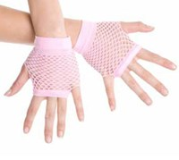 Fingerless Fishnet Hand Gloves, Pale Pink