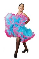 CLEARANCE, Long Pettiskirt , Girls, Turquoise/Cerise, As Pictured, (Leotard sold separately)