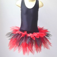 Funky Feathered Skirt, Childs sizes, Red/Black, (As pictured)