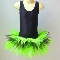 Funky Feathered Skirt, Childs sizes, Fluro Green/Black, (As pictured)