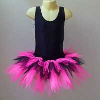 Funky Feathered Skirt, Childs sizes, Fluro Pink/Black, (Pink is more fluro than pictured) 