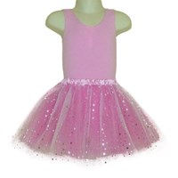 Sparkle Star Layered Play Tutu skirt, Pink with Silver Stars (Leotard not included)