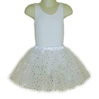 Sparkle Star Layered Play Tutu skirt, White with Silver Stars (Leotard not included)