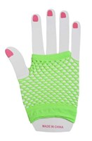 Fingerless Fishnet Hand Gloves, Neon Green