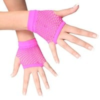 Fingerless Fishnet Hand Gloves, Neon Pink