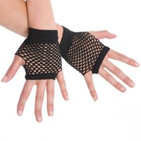 Fingerless Fishnet Hand Gloves, Black