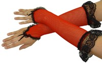 Fishnet Fingerless Gloves, Red with black lace edging