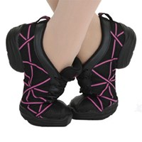 Capezio Web Dance Sneaker, Black with Hot Pink
