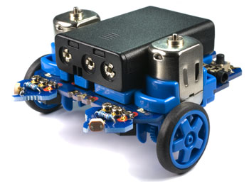 Microbot robot fitted with LDR light sensing modules - Program as a photophobic robot or phototropic robot