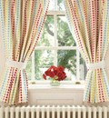Bright spotty curtains