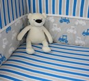 cotbed fitted sheets in bold blue stripe