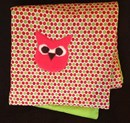 Little owl appliqued cotton cot quilt playmat