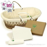 Organic wicker Moses basket with organic cotton dressings and bedding box set