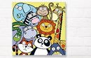 Jungle animals bright canvas wall art