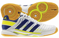 Adidas adiPower Stabil 10.1 Men's Court Shoes, White / Navy / Yellow