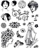 Vintage Ladies Clear Stamps Great for Scrapbooking & Cardmaking