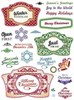 Justrite Clear Stamps Great for Scrapbooking & Cardmaking - Christmas Vintage Labels 27pc