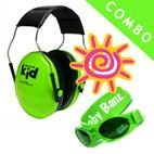 *Peltor Kids Ear Muffs & Banz UV Sunglasses *COMBO* - NEON GREEN