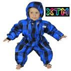 OKco Infant / Baby Papoose One Piece Snow Suit  (Blue Plaid) 0-1