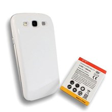 Samsung Galaxy S3 Extended Life Battery Replacement 3600mAh White Back Cover