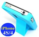 iPhone 4s & iPhone 4 Plastic Hard Case with Stand / Blue