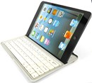 Mini Wireless Keyboard made for iPhones and iPad Mini with device stand - White