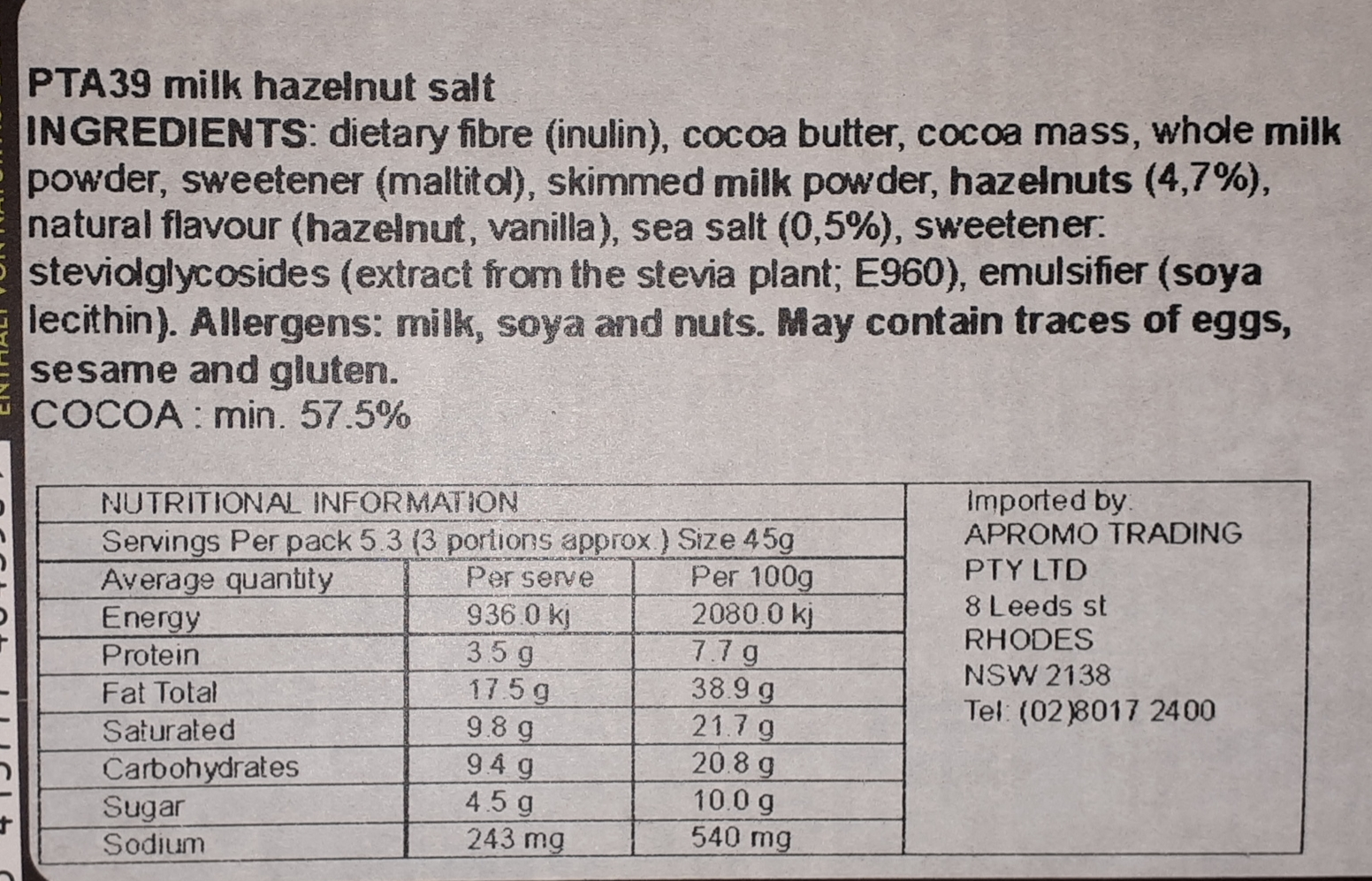 Perlege Salted Hazelnut Praline ingredients and nutrition panel