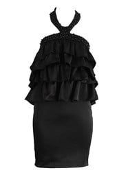 Tiered Cocktail Party Dress Black