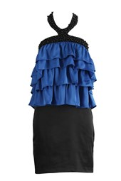 Tiered Cocktail Party Dress Blue