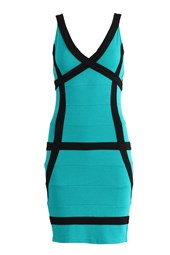 Bodycon V-Neck Contrast Bandage Dress Turquoise