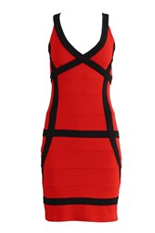 Bodycon V-Neck Contrast Bandage Dress Red