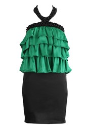 Tiered Cocktail Party Dress Green