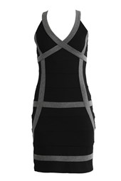 Bodycon V-Neck Contrast Bandage Dress Black